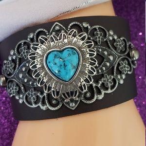 Brown leather Filigree bracelet